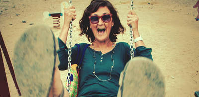 Mature woman on swing