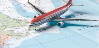 Model plane on map
